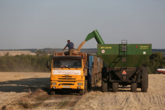 "A Kamaz PJSC truck Acros combine harvesters, manufactured by Rostselmash OJSC, during the summer wheat harvest on a farm operated by 'Svetlyi"" Group of Companies, in Kamenka village, outside Rostov, Russia, July 5, 2019. http://gk-svetlyi.ru/"
